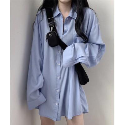 (Girly Doll/ガーリードール)【Girly Doll】シャツ【2021春夏商品】【韓国ファッション】/レディース ブルー