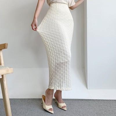 DRESSCAFE[韓国ファッション] Limited item (2color) スパンデックスレースHラインロングスカート 送料無料