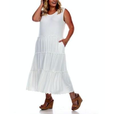ホワイトマーク レディース ワンピース トップス Plus Size Scoop Neck Tiered Midi Dress