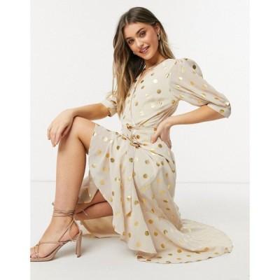 フォーエバー ユー Forever U レディース ワンピース ラップドレス ミドル丈 Wrap Tie Midi Dress With Gold Metallic Spot Print In Cream And Gold