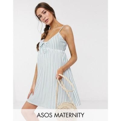 エイソス ASOS Maternity レディース ワンピース Asos Design Maternity Cami Bow Front Mini Sundress In Sage And White Stripe