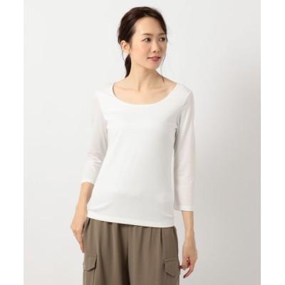L size ONWARD(大きいサイズ)/エルサイズオンワード 【定番人気】Premium Jersey Uネックカットソー ホワイト系 XL