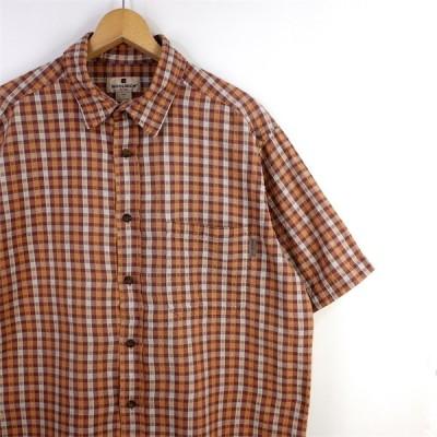 古着 大きいサイズ ウールリッチ Woolrich シアサッカー地 半袖カジュアルシャツ メンズUS-Lサイズ チェック柄 エンジ オレンジ系 sh-3192n