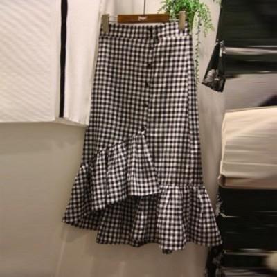 ギンガムチェック マーメイドスカート レディース ブラック 大人かわいい きれい 裾 ミモレ丈 春夏 通勤 通学