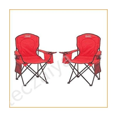 Coleman Oversized Quad Chair with Cooler Pouch (Red/Set of 2)並行輸入品