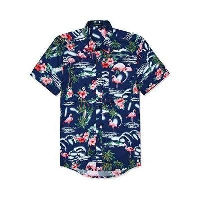 アロハシャツ メンズ 柄シャツ 半袖 ハワイアンシャツ 紺色 フラミンゴ ビーチ 夏 和柄シャツ プリント 大きいサイズ L By Enli