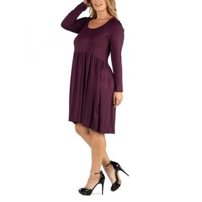 24セブンコンフォート ワンピース トップス レディース Knee Length Pleated Long Sleeve Plus Size Dress Dark Purple