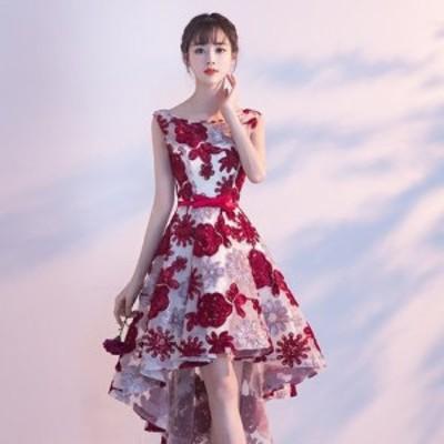 送料無料 パーティードレス ノースリーブ ワンピース 花柄 刺繍 フォーマル 結婚式 二次会 パーティー