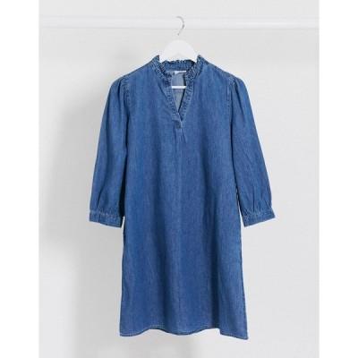 ヴィラ レディース ワンピース トップス Vila denim smock dress in blue Blue