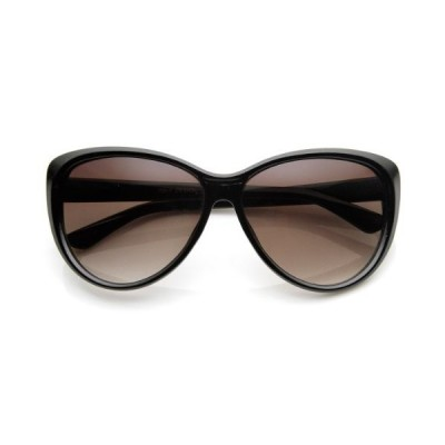 Womens Oversized High Fashion Cat Eye Sunglasses (Black)【並行輸入品】