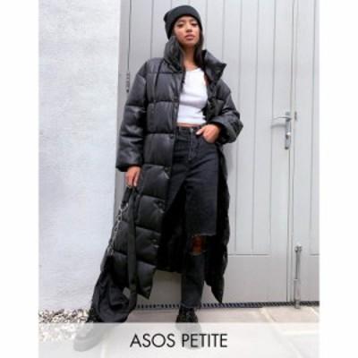 エイソス ASOS Petite レディース コート ロングコート アウター ASOS DESIGN Petite longline square quilt coat in black ブラック