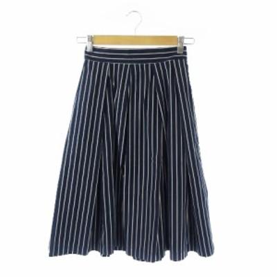 【中古】アーバンリサーチ URBAN RESEARCH スカート フレア ミモレ ロング ストライプ F 紺 ネイビー /YH6 レディース