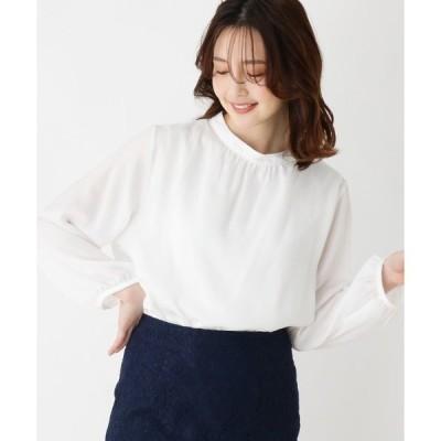 シャツ ブラウス 【大きいサイズあり・13号・15号】クレープサテンハイネックシャツ