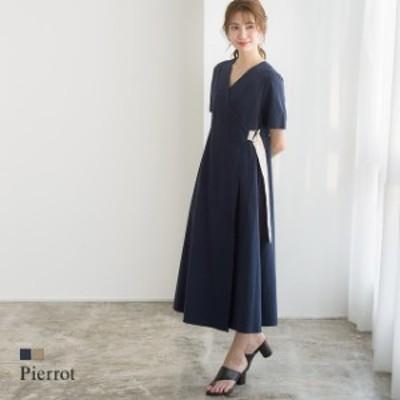 配色ベルト ラップデザイン ワンピース / ロングワンピース レディース 夏新作