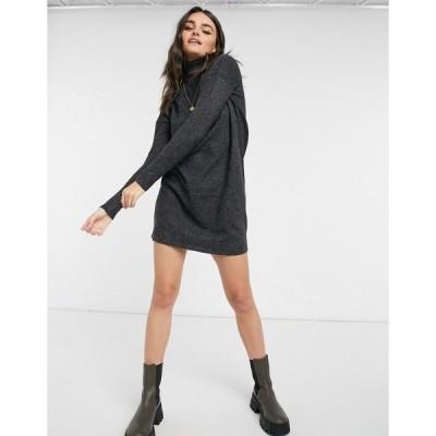 ヴェロモーダ レディース ワンピース トップス Vero Moda roll neck sweater dress in black Black