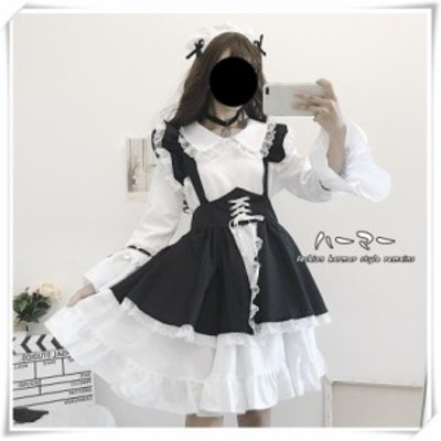 ワンピース  長袖 ロリータワンピース ゴスロリ 女装 コスプレ ドレス お嬢様 ガールズ スカート メイド服 かわいい3点セット