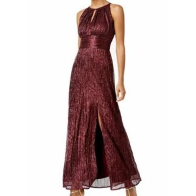 ファッション ドレス R&M Richards Purple Womens Size 8 Shimmer Keyhole Front Slit Gown