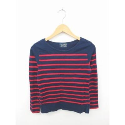 【中古】フォードミルズ FORDMILLS Tシャツ カットソー ボーダー 丸首 綿 コットン 長袖 紺 赤 ネイビー レッド /TT1
