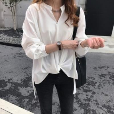 【レディース】長袖 ブラウス :トップス シャツ シンプル OL 仕事
