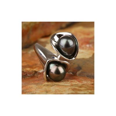 ブラックパール 黒蝶真珠 リング 指輪 9mm SV925 タヒチ産 黒真珠 6月 誕生石 天然石