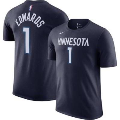 ナイキ メンズ Tシャツ トップス Nike Men's Minnesota Timberwolves Anthony Edwards Navy Cotton T-Shirt