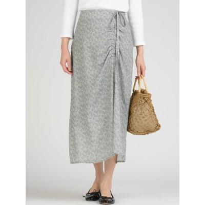 【socolla】小花柄サイドギャザーマーメイドスカート