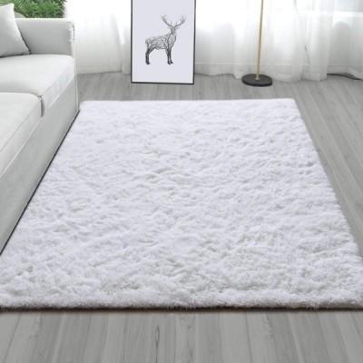 YJ.GWL ラグカーペット 白ラグマット 洗える 120×160cm 12色 滑り止め付き 夏 冷房対策 ふわふわ センターラグ ホワイト
