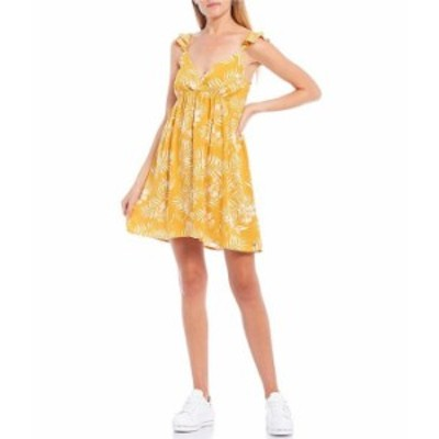 ロキシー レディース ワンピース トップス On A Thought Tropical Leaf Printed Dress Mineral Yellow
