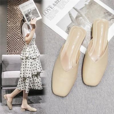 ミュール かかとなし レディース パンプス 痛くない 太いヒール 夏 靴 女性 美脚 おしゃれ 通勤 歩きやすい 20代 30代 40代