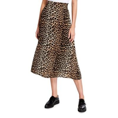 ガニー レディース スカート ボトムス Leopard Printed Georgette Midi Full Skirt