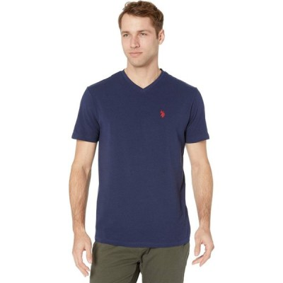 ユーエスポロアッスン U.S. POLO ASSN. メンズ Tシャツ Vネック トップス Short Sleeve Stretch V-Neck Tee Shirt Classic Navy