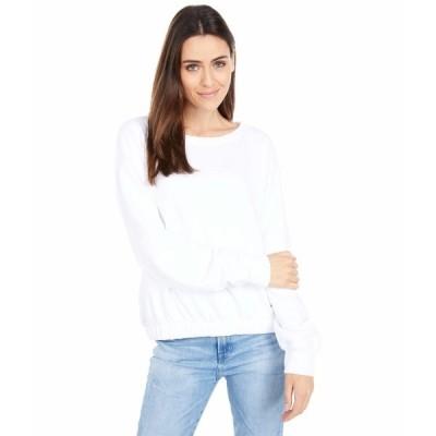 モッドドック パーカー・スウェットシャツ アウター レディース Cashmere French Terry Long Sleeve Boatneck Sweatershirt White