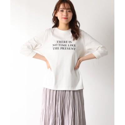 (Honeys/ハニーズ)7分袖ロゴプリントT/レディース オフホワイト