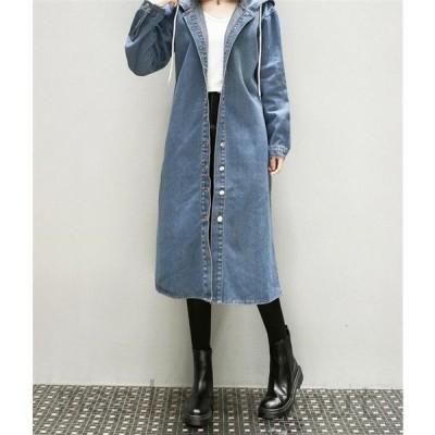 デニム コート レディース ロングコート チェスターコート 大きいサイズ  カジュアル 春 大人 上品 ゆったり ジャケット フード付き 大きいサイズ 5XL 秋