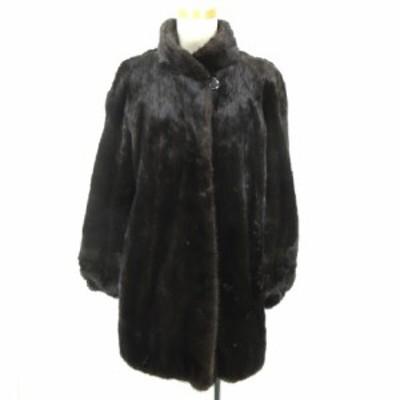 【中古】ノーブランド ファージャケット コート ダークブラウン 11 IBS82 レディース