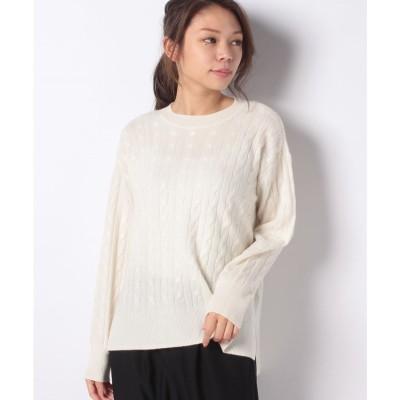 レリアン 【my perfect wardrobe】カシミヤケーブルニット(オフホワイト)