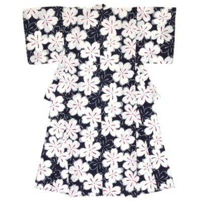 【モダンなレディース浴衣】紺/ネイビー/白/ホワイト/桜/花/綿/絽/変わり織り/夏祭り/女性用/仕立て上がり