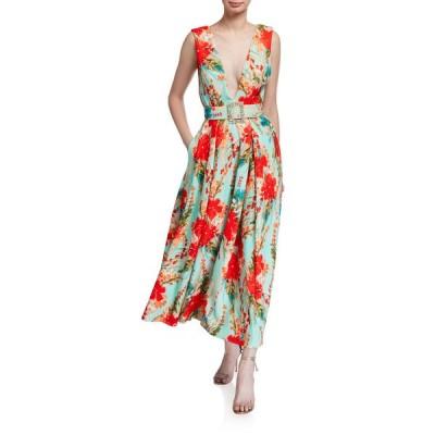 バッドグレイミッシカ レディース ワンピース トップス Floral Mikado Sleeveless Belted Dress