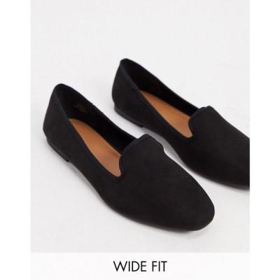 エイソス ASOS DESIGN レディース スリッパ シューズ・靴 Wide Fit Lakeside slipper ballet flats in black ブラック