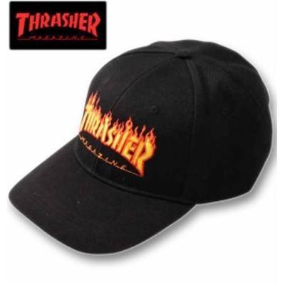 大きいサイズ THRASHER FLAMEロゴ6Pキャップ ブラック 4L/61~64cm 1270-0291-2-49