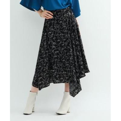 INDIVI/インディヴィ ◆【マシンウォッシュ】ハンドペイントプリントスカート ブラック(119) 40(L)