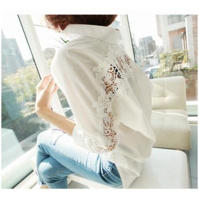 レディースシャツ白シャツブラウスバックレースシースルー刺繍七分袖レディース カテゴリトップ トップス