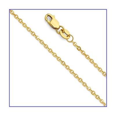 14Kイエローゴールド/ホワイトゴールド製 ロロケーブルチェーンネックレス 純金 1.5mm ダイヤモンドカッ