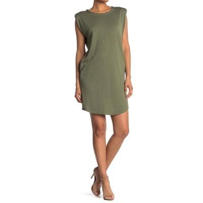 メロデイ レディース ワンピース トップス Padded Shoulder Sleeveless T-Shirt Dress OLIVE
