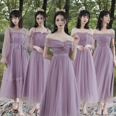 5タイプ ブライズメイドドレス 花嫁 二次会 パーティードレス お呼ばれワンピース