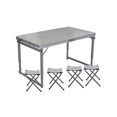 ZHANGYN Aluminum Folding Picnic Table with 4 Benches 4 Person Adjustable Height Portable Camping Table and Chairs Set for Office Garden Outd