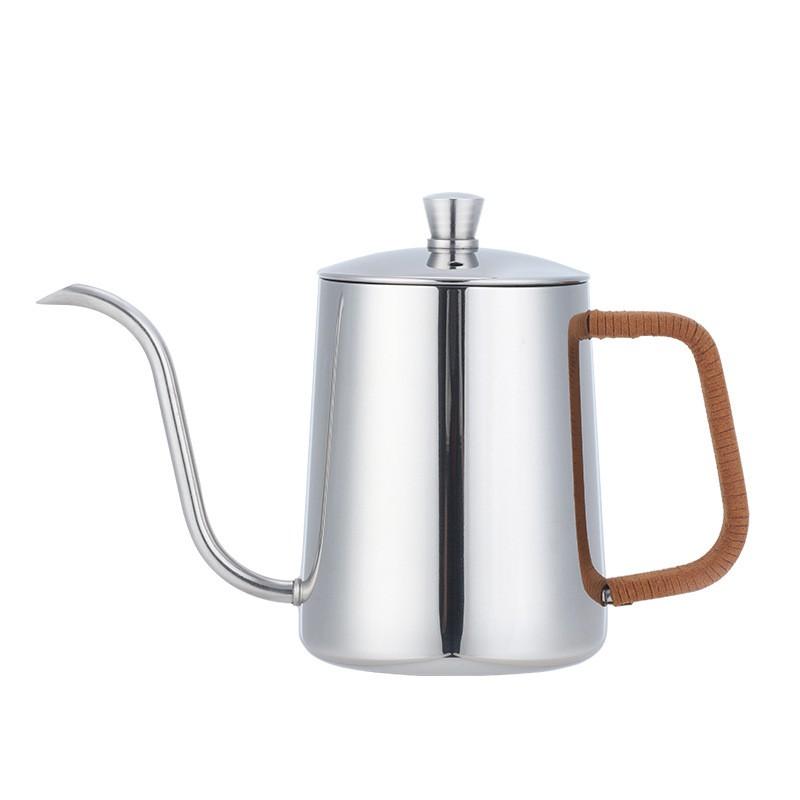 不鏽鋼手沖壺 350ml/600ml 【LifeShopping】【現貨】4mm 細口壺 咖啡壺 掛耳式咖啡 咖啡濾杯