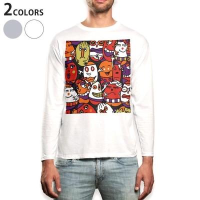 ロングTシャツ メンズ 長袖 ホワイト グレー XS S M L XL 2XL Tシャツ ティーシャツ T shirt long sleeve  タマゴ お化け 001249