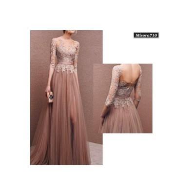 レディース ドレス ワンピース レース 刺繍 ロング 5分袖 エレガント 上品 大人 イブニングドレス パーティー 結婚式