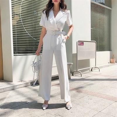 新品入荷2019新作 韓国ファッション オールインワン オーバーオール Vネック ワイドパンツ バギーパンツ 体型カバー 着痩せ 無地